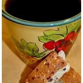 Chocolate Dipped Almond Biscotti Coffee